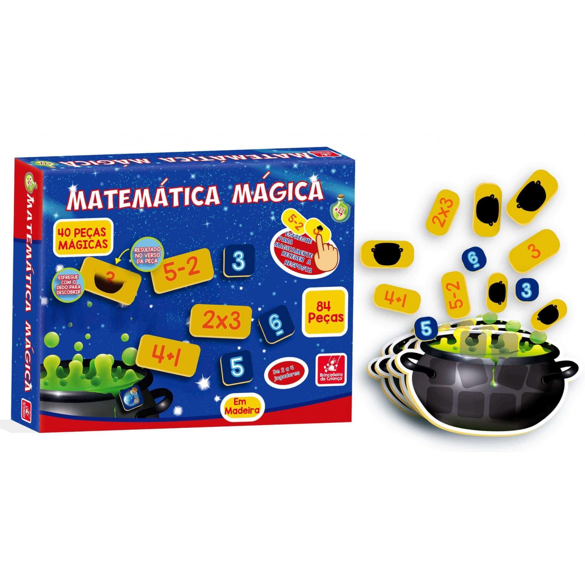 Jogo Matemática Mágica 84 Peças Em Madeira Brincadeira De Criança