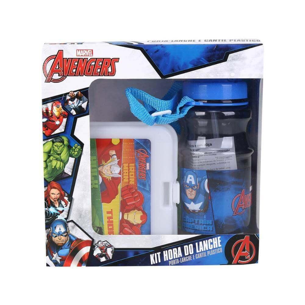 Kit Hora Do Lanche Garrafa Mais Porta Lanches Avengers Dmw