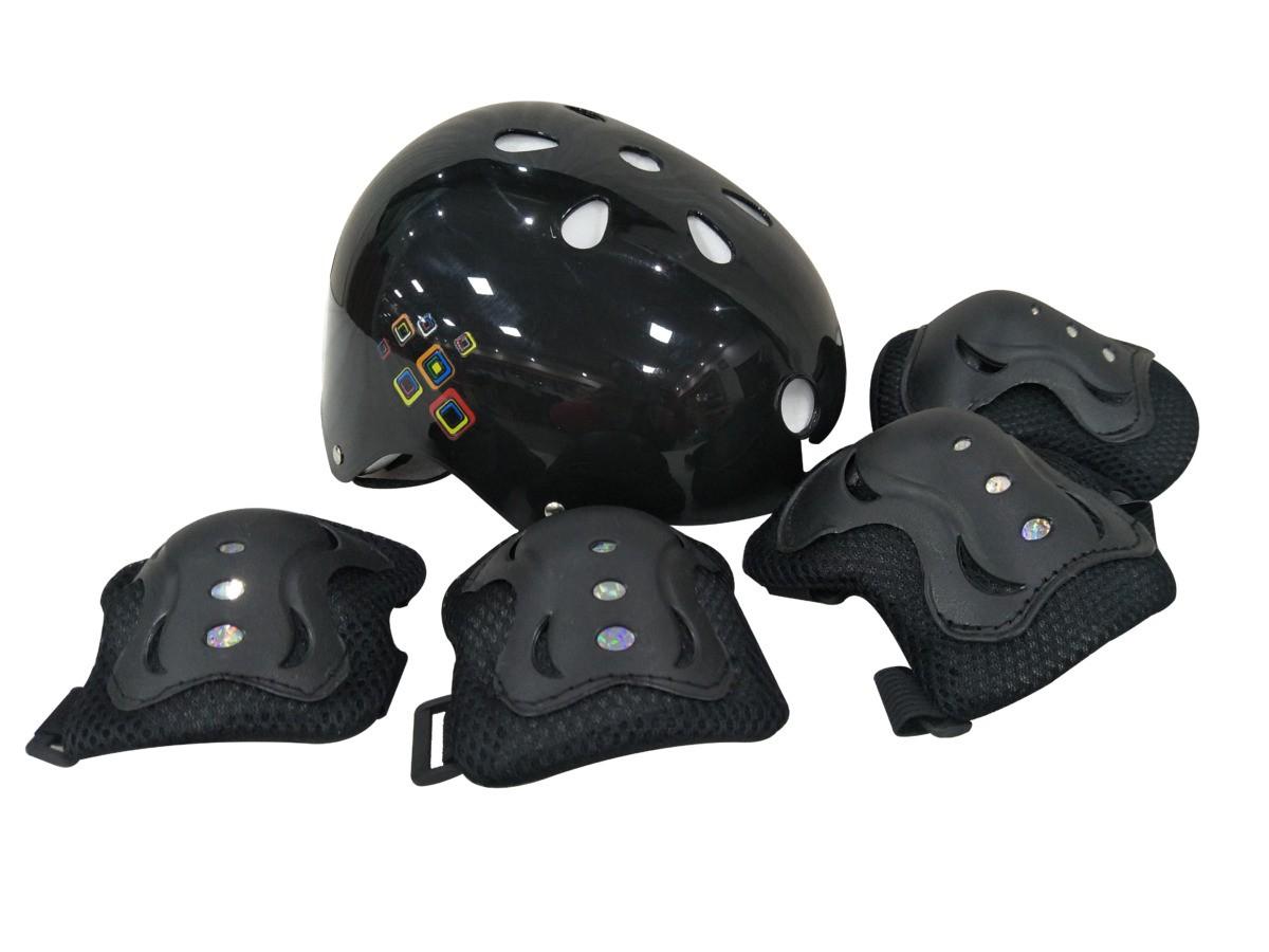 Kit Proteção Com Capacete Joelheira e Cotoveleira Preto Unitoys