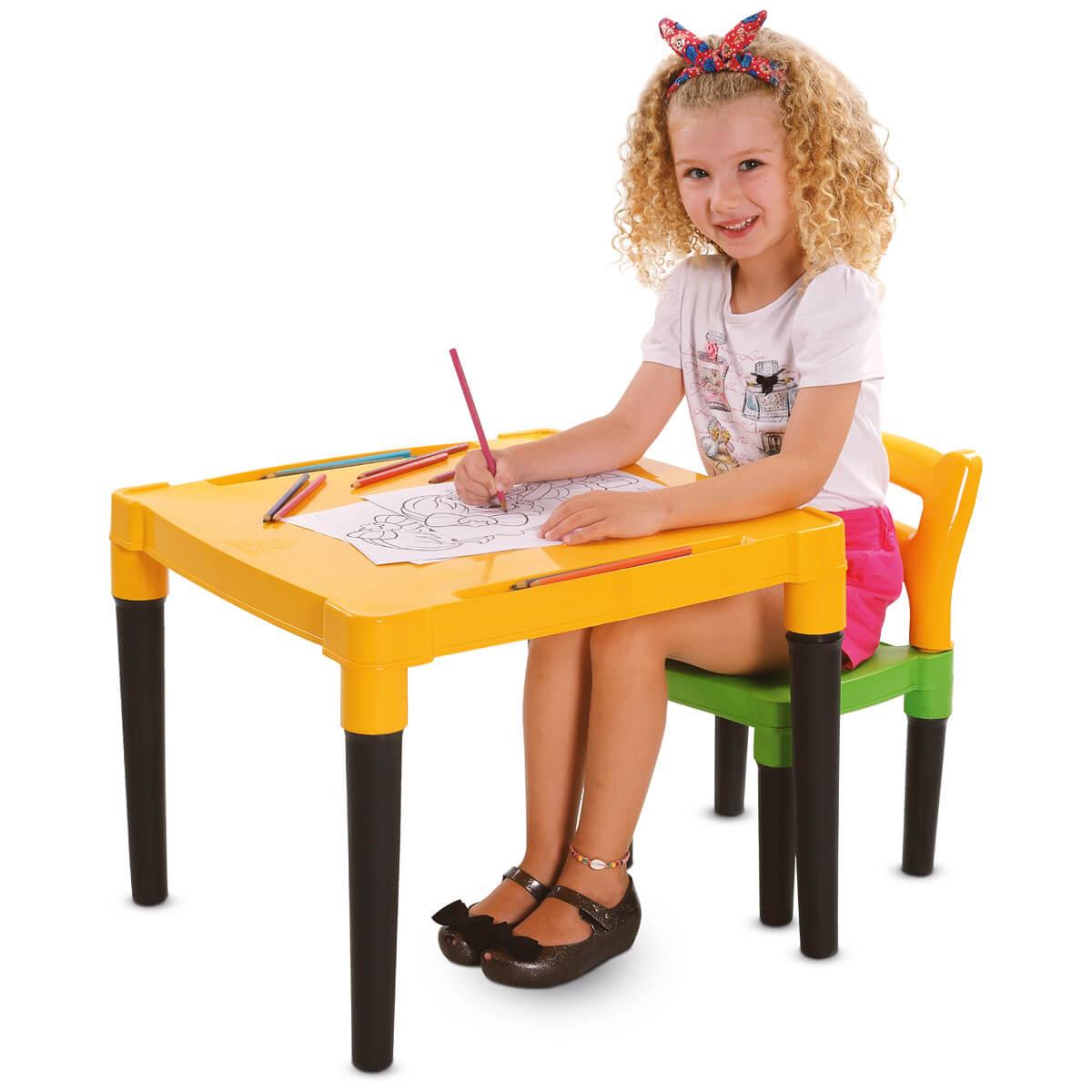 Mesinha Infantil Com Cadeira Viva Estudar MK386 Dismat
