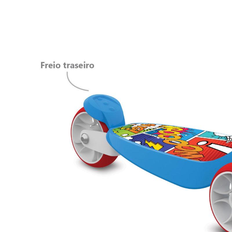 Patinete Skatenet Kid Com 3 Rodas Azul 1500 Bandeirante