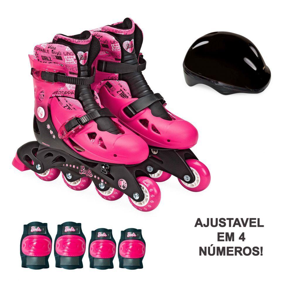 Patins Ajustável Com Acessórios de Segurança Barbie 37 A 40  Fun