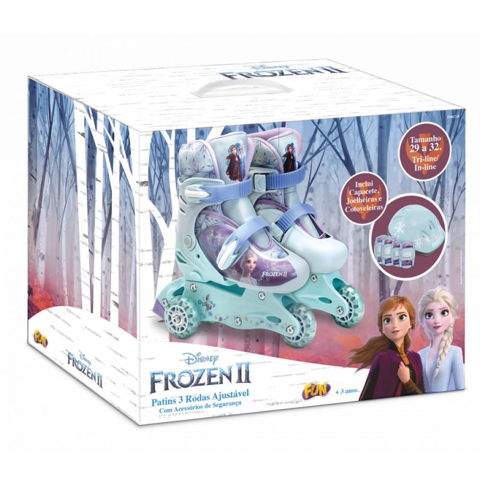 Patins Ajustável Com Acessórios Segurança Frozen 29 A 32 Fun