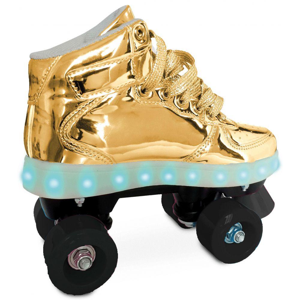 Patins Clássico Com Led 4 Rodas Dourado 37/38 8310-6 Fun
