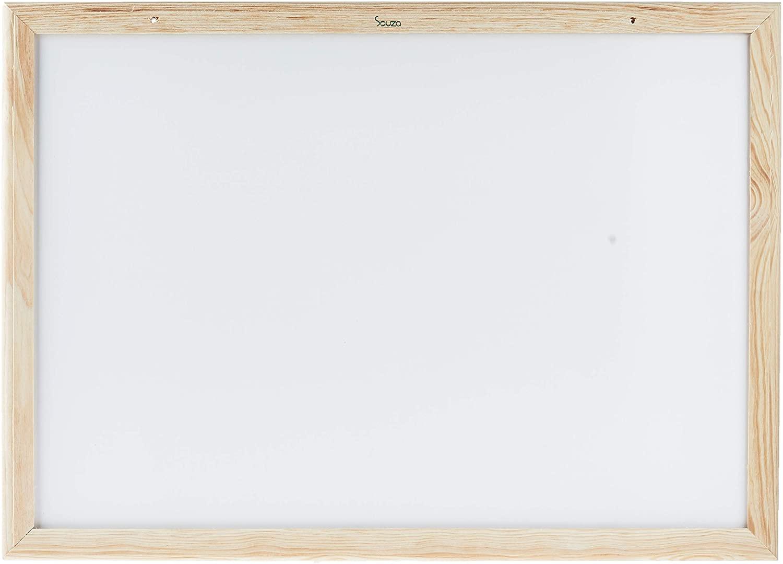 Quadro Branco Moldura Madeira 70 x 50 Centímetros 6172 Souza