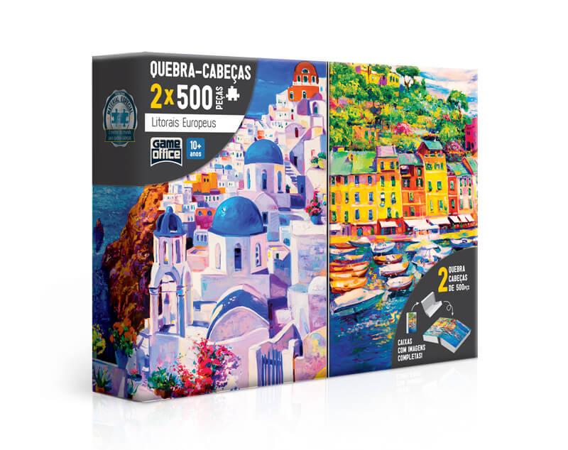 Quebra-Cabeça 500 Peças Litorais Europeus Grécia E Itália 2668 Toyster