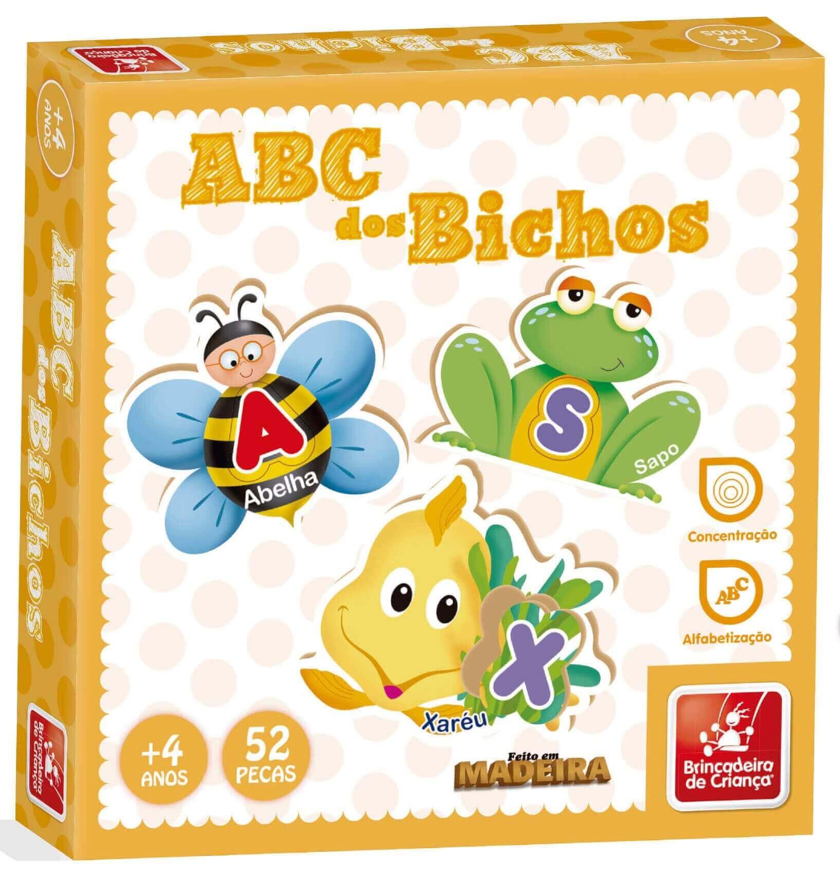 Quebra-Cabeça Abc Dos Bichos 52 Peças Em Madeira Brincadeira de Criança