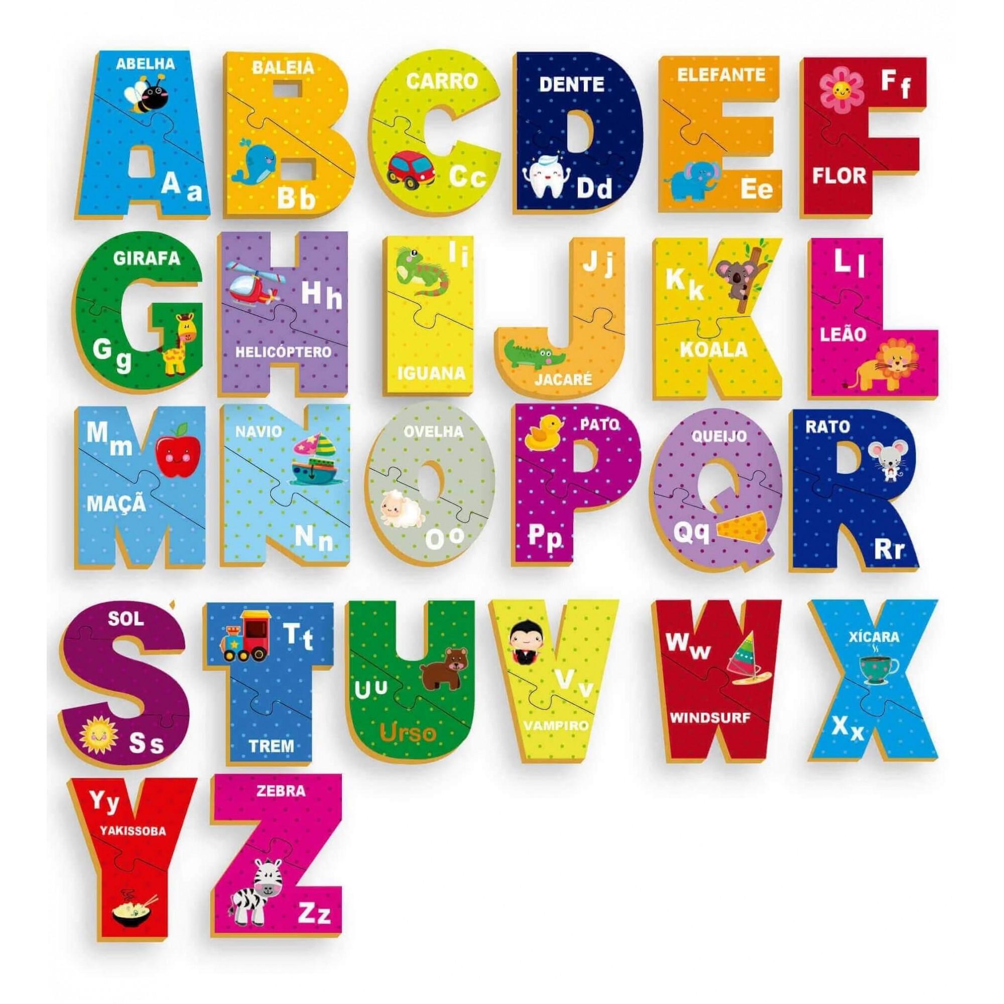 Quebra-Cabeça Aprendendo O Abc 51 Peças Em Madeira Brincadeira De Criança