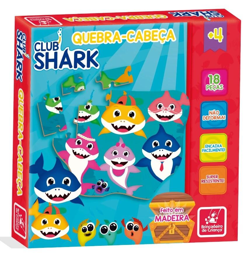 Quebra-Cabeça Club Shark 18 Peças Em Madeira 2352 Brincadeira De Criança