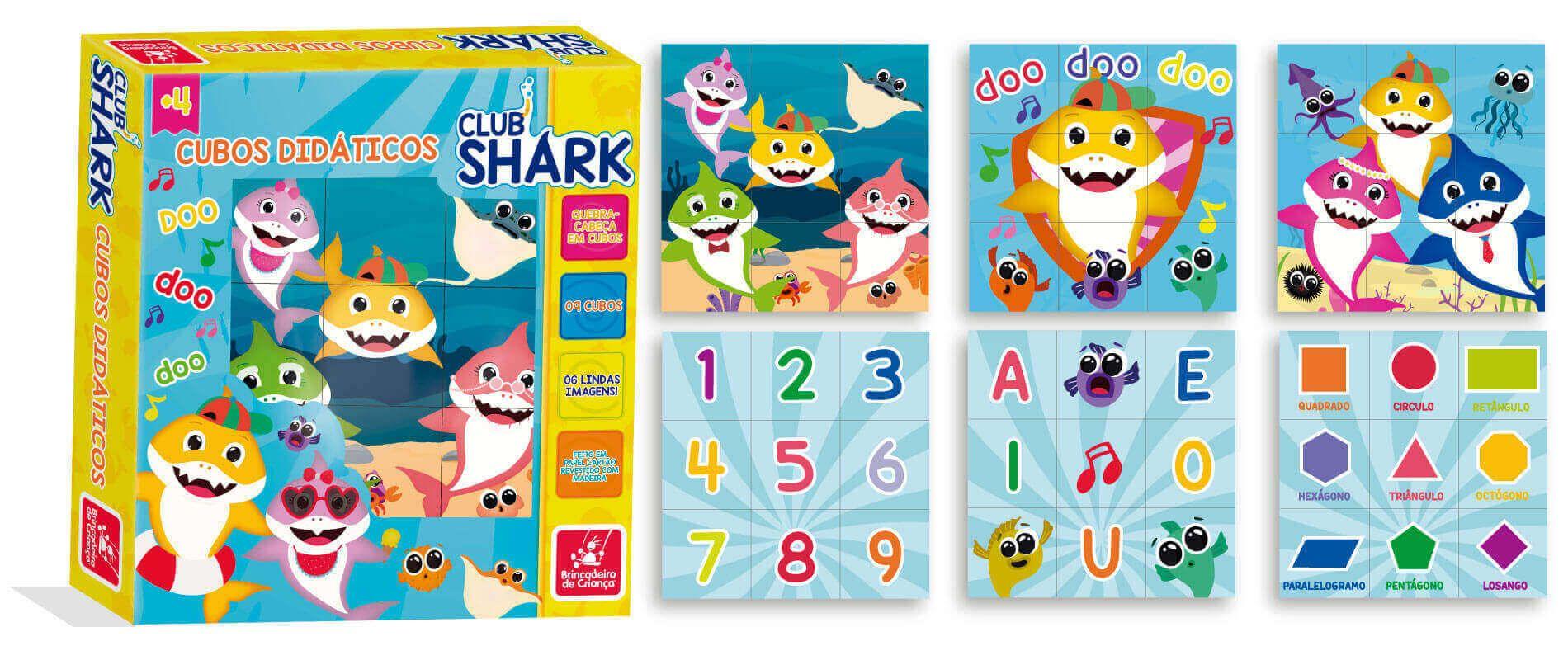 Quebra-Cabeça Cubo Didático Club Shark Brincadeira De Criança