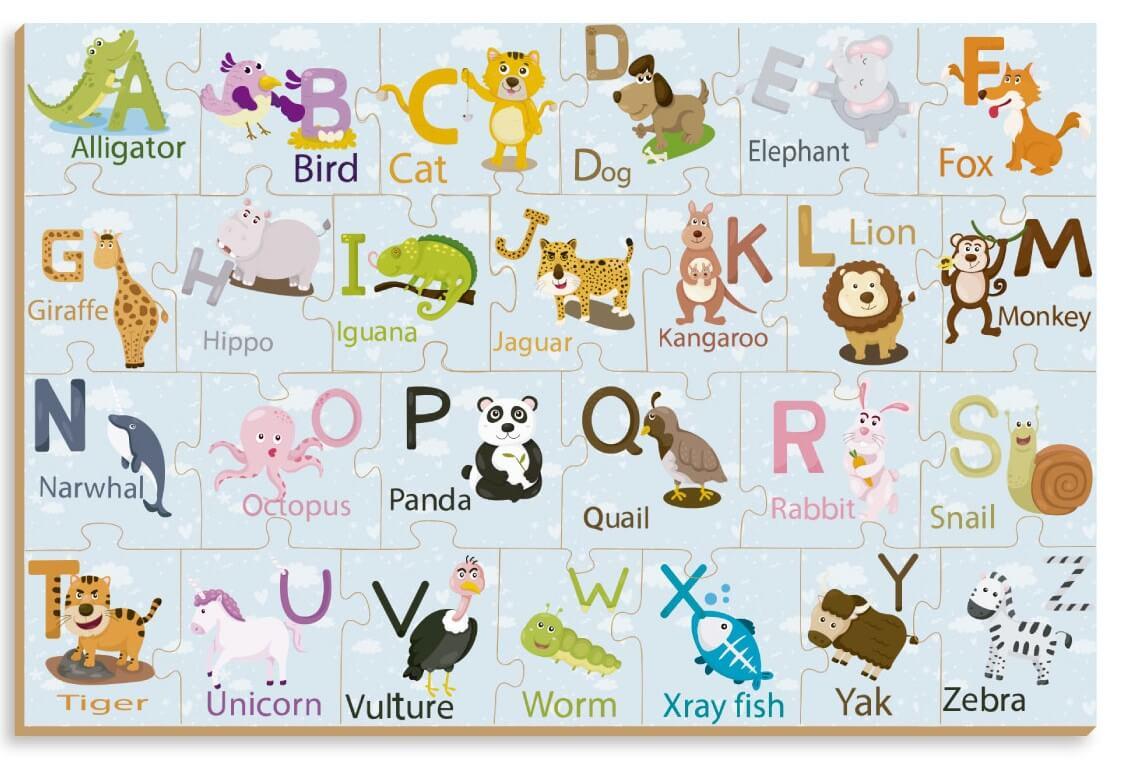 Quebra-Cabeça Em Inglês Animalfabeto 26 Peças Em Madeira Brincadeira De Criança