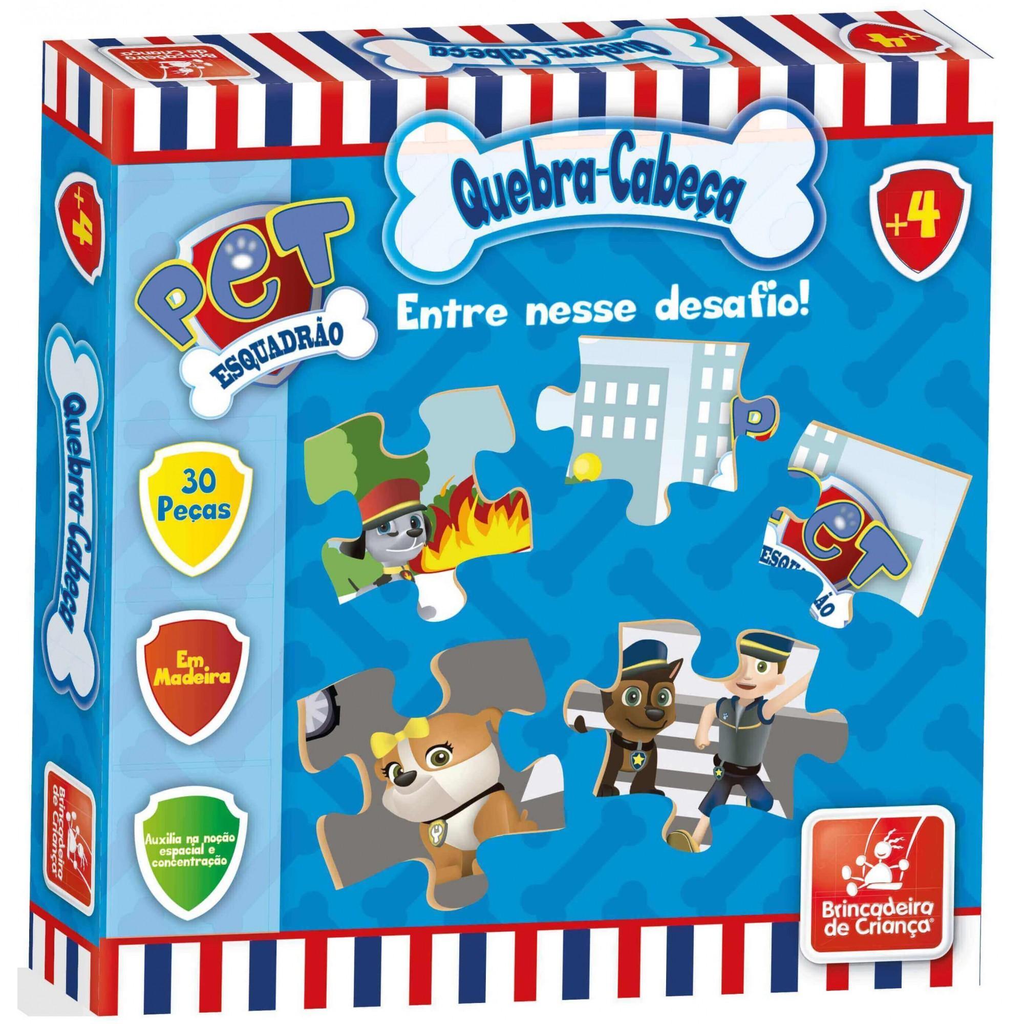 Quebra-Cabeça Esquadrão Pet 30 Peças Em Madeira Brincadeira De Criança