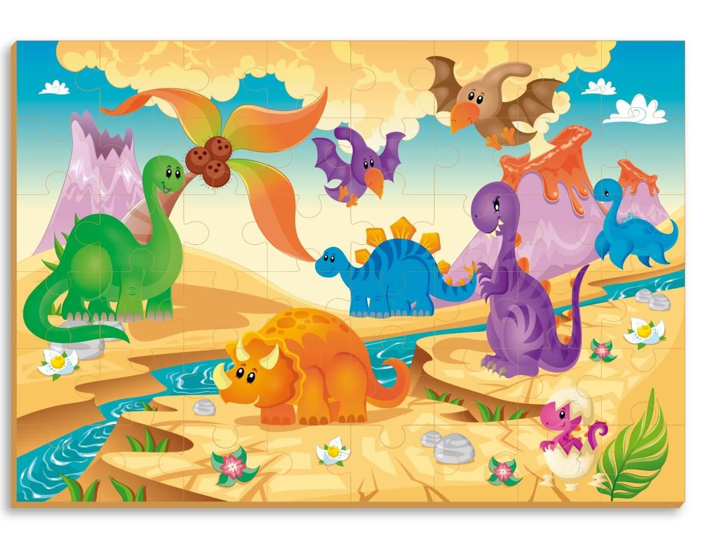 Quebra-Cabeça Gigante Dinossauros 48 Peças Em Madeira Brincadeira De Criança