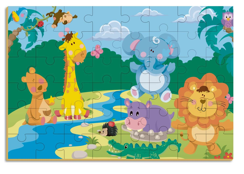 Quebra-Cabeça Gigante Safari 48 Peças Em Madeira Brincadeira De Criança