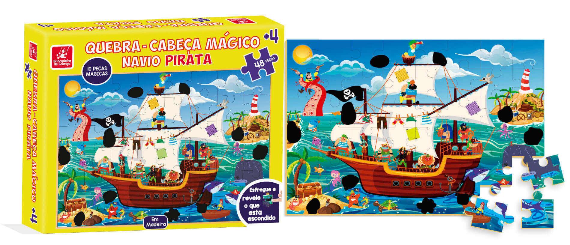 Quebra-Cabeça Mágico Pirata 48 Peças Em Madeira Brincadeira De Criança