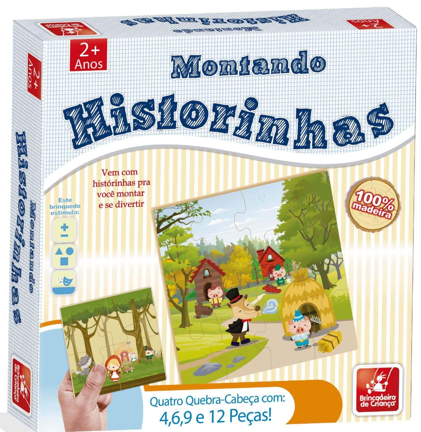Quebra-Cabeça Montando Historinhas Em Madeira 8412 Brincadeira De Criança
