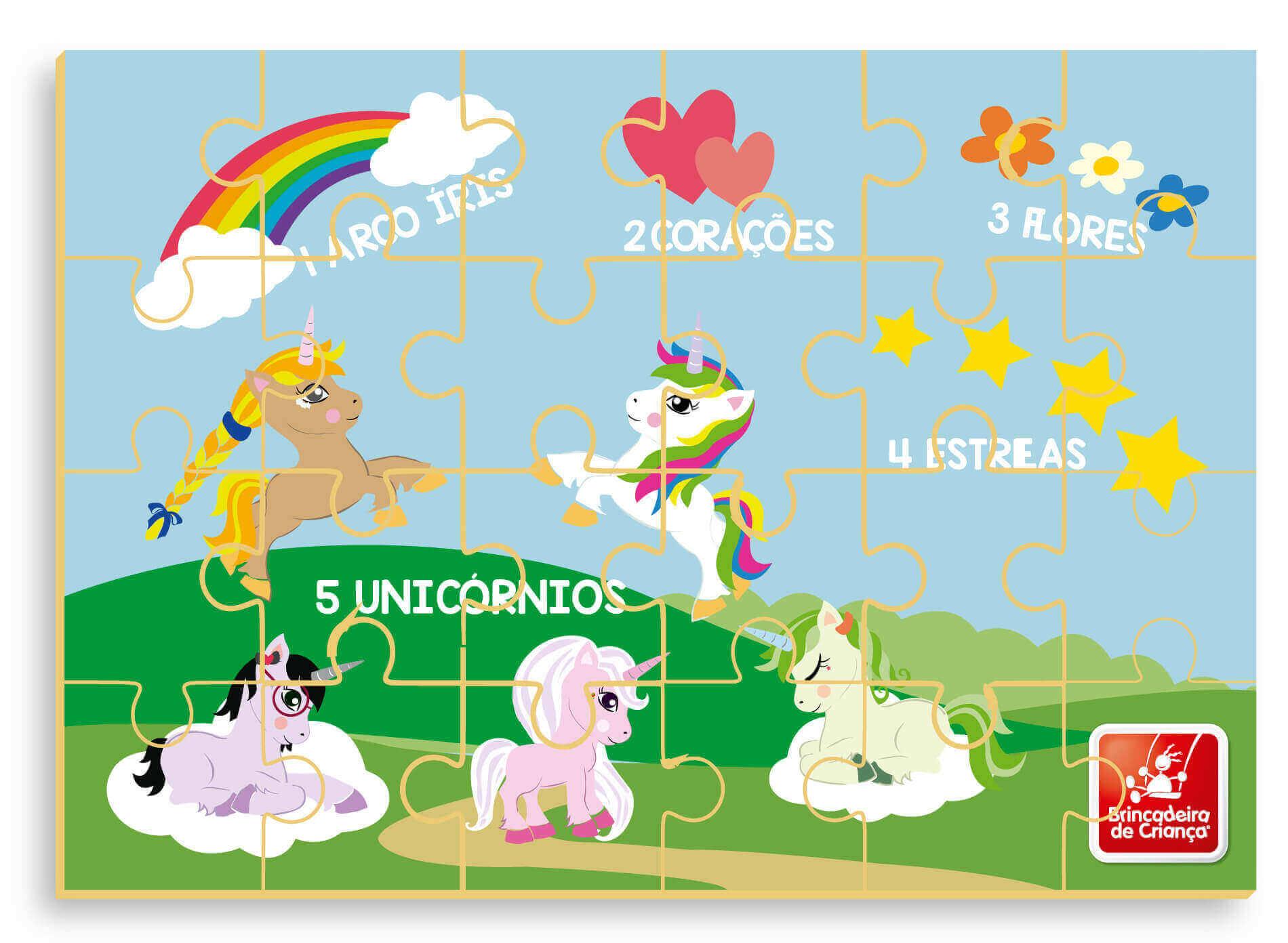 Quebra-Cabeça Números e Quantidades Unicórnios 24 Peças Em Madeira Brincadeira de Criança