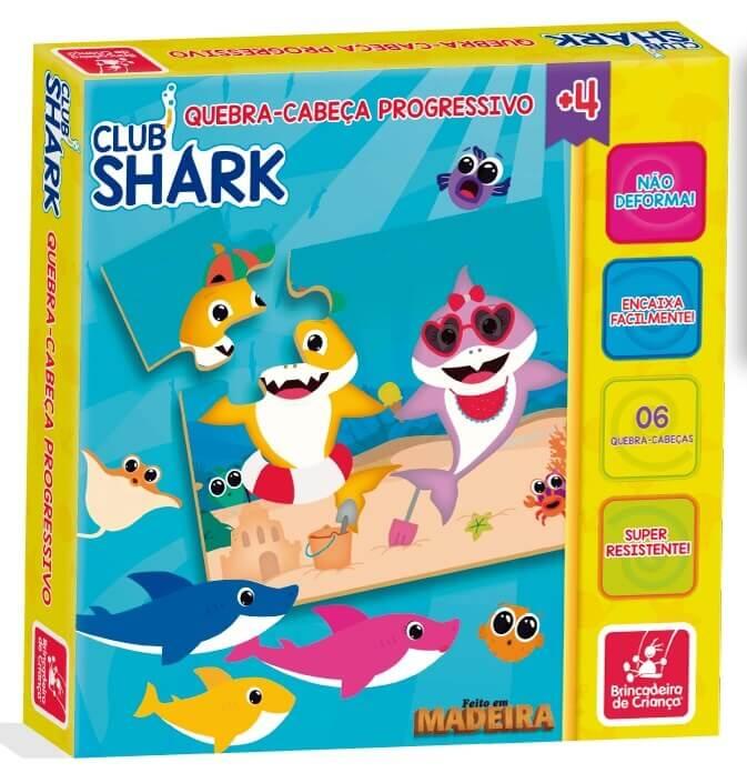 Quebra-Cabeça Progressivo Club Shark Em Madeira Brincadeira De Criança