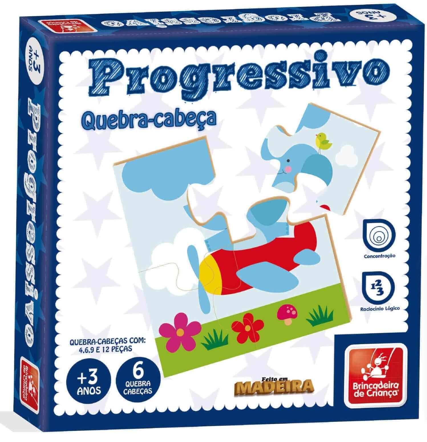 Quebra-Cabeça Progressivo Em Madeira 9343 Brincadeira De Criança