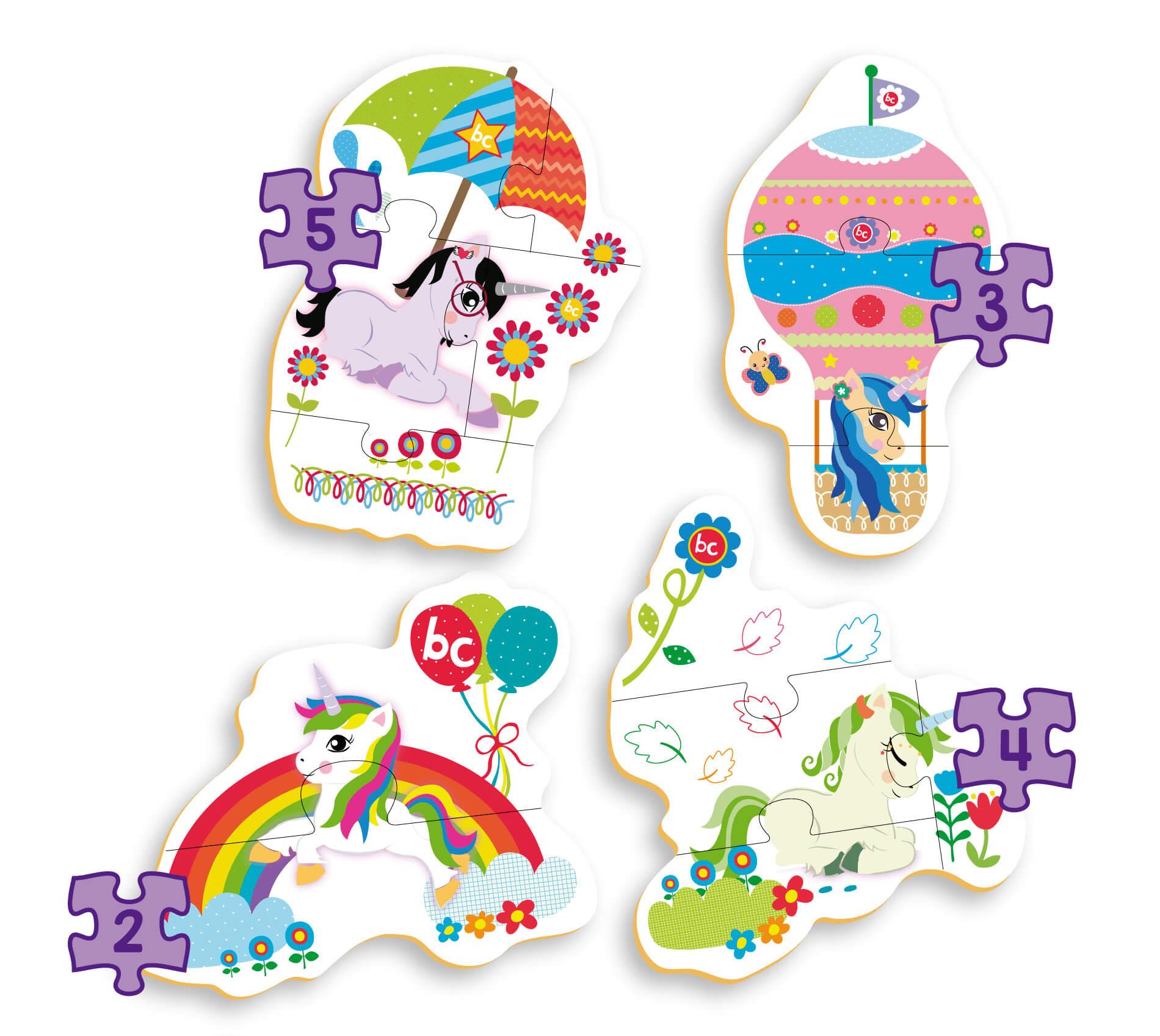 Quebra-Cabeça Progressivo Unicórnio Em Madeira 0909 Brincadeira De Criança