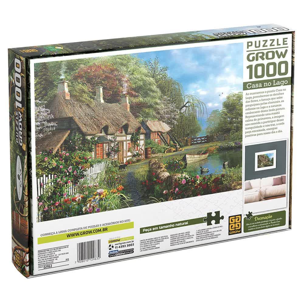 Quebra-Cabeça Puzzle 1000 Peças Casa No Lago 02963 Grow