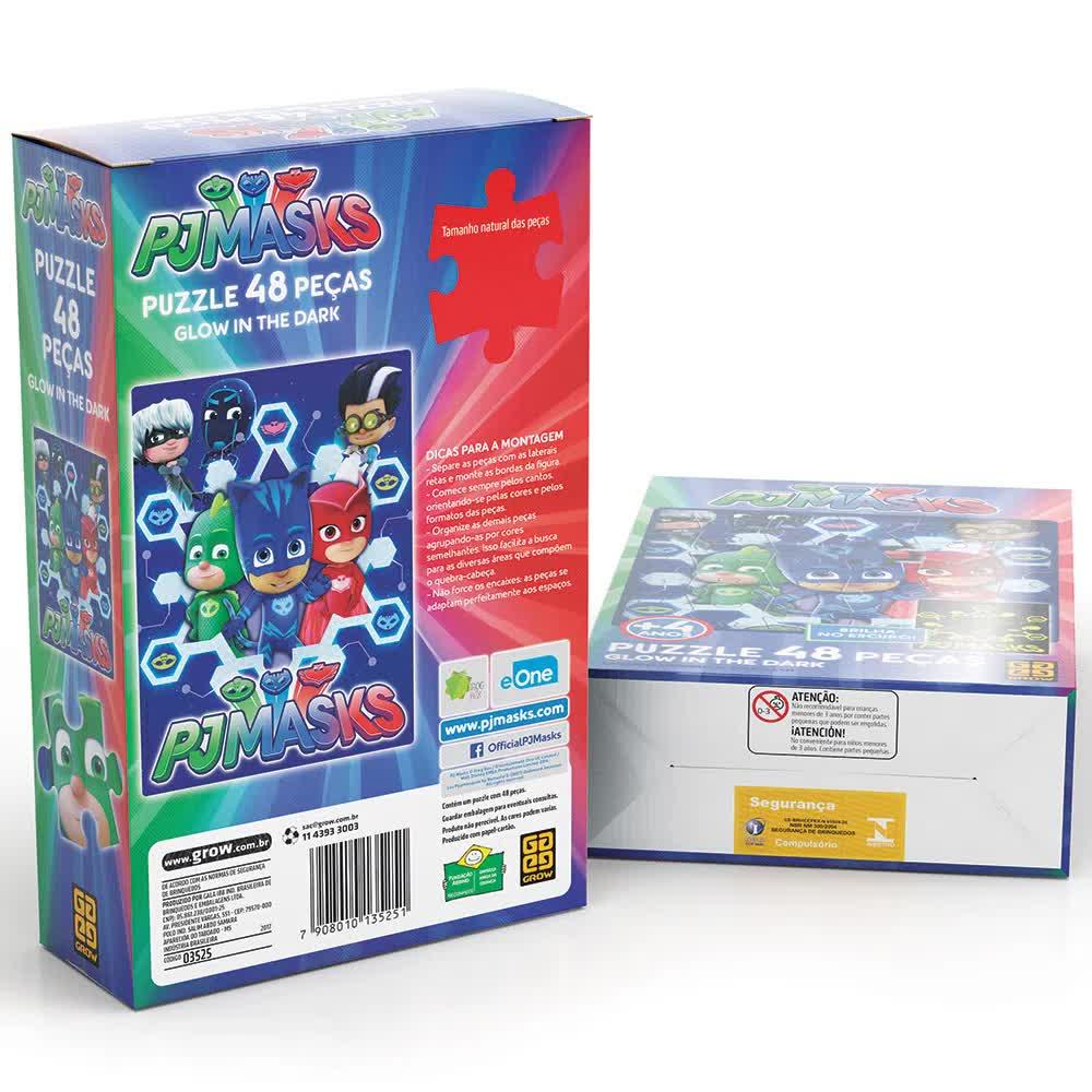 Quebra-Cabeça Puzzle 48 Peças PJ Masks Brilha No Escuro Grow