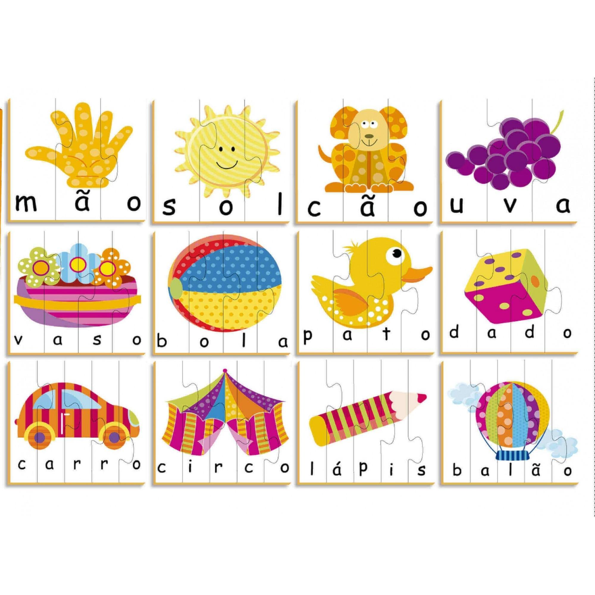 Quebra-Cabeça Vamos Soletrar 48 Peças Em Madeira Brincadeira De Criança