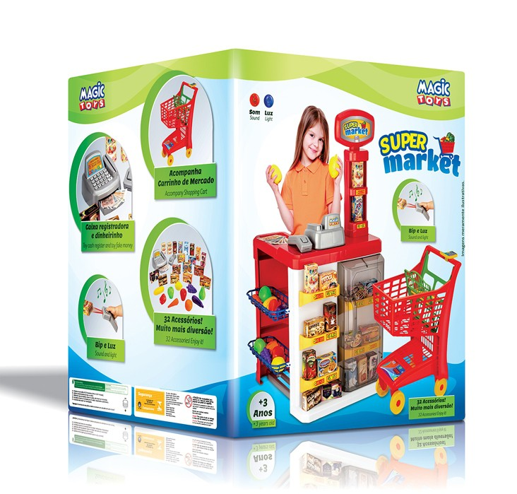 Super Market Mercadinho Mais Carrinho De Compras 8039 Magic Toys
