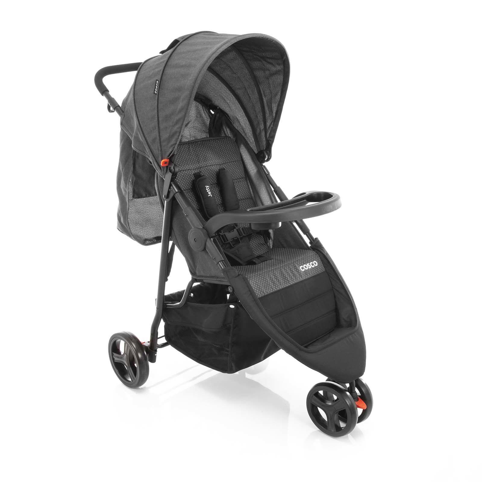 Travel System Jetty Duo Carrinho e Bebê Conforto Preto Mescla Cosco