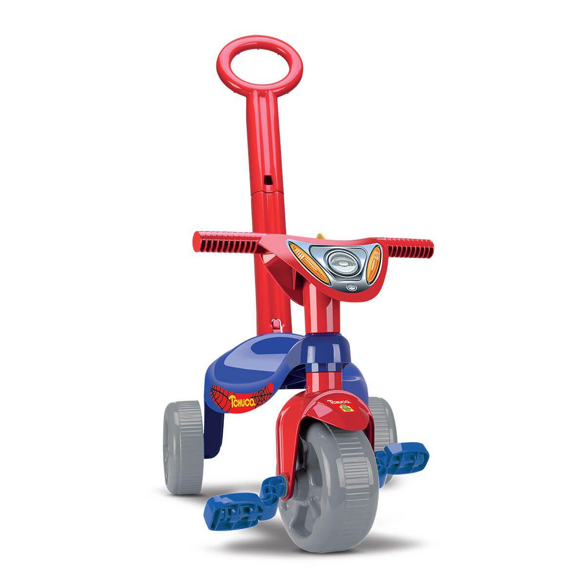 Triciclo Tchuco Heróis Super Teia Com Haste 0601 Samba Toys