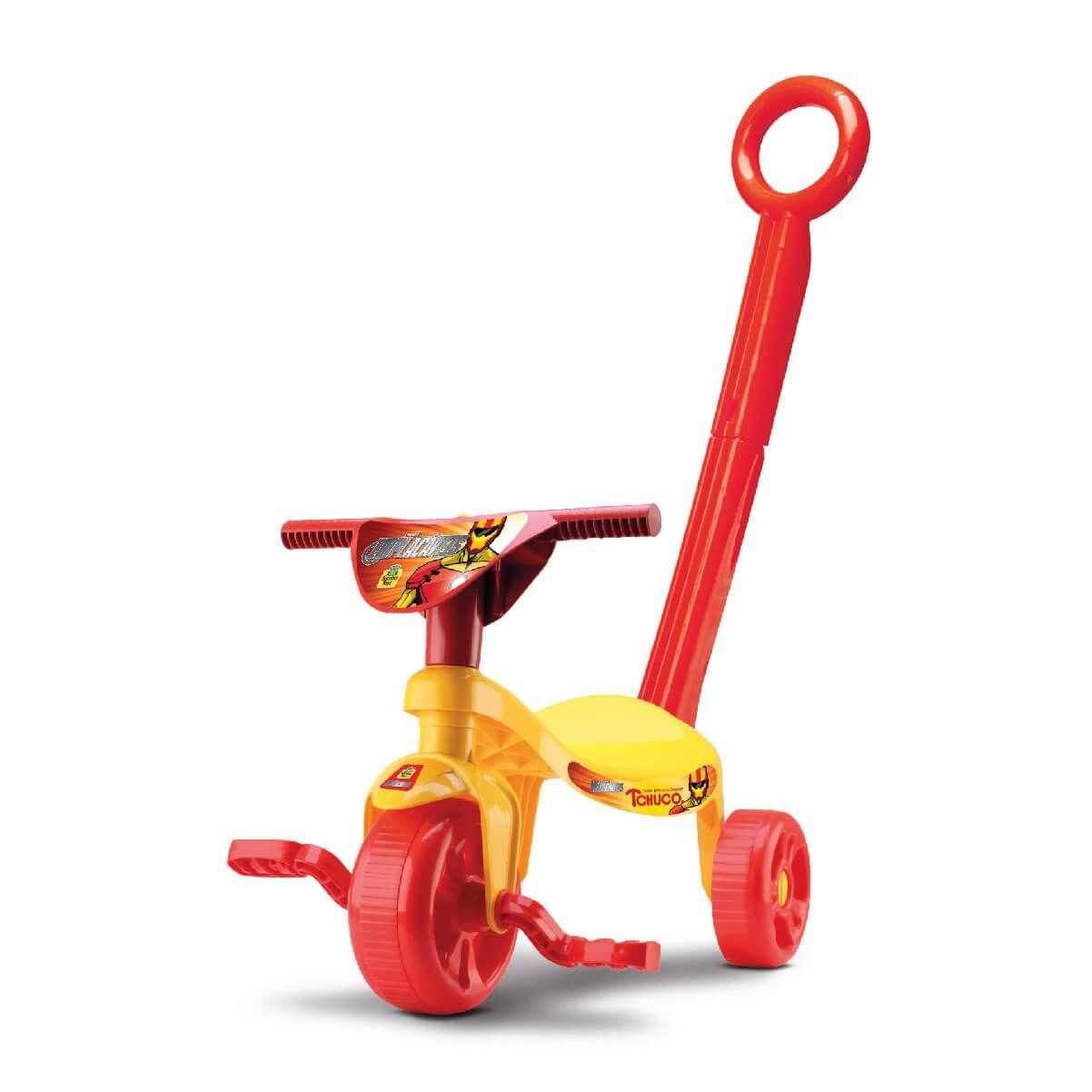 Triciclo Tchuco Implacáveis Amarelo Com Haste 0629 Samba Toys