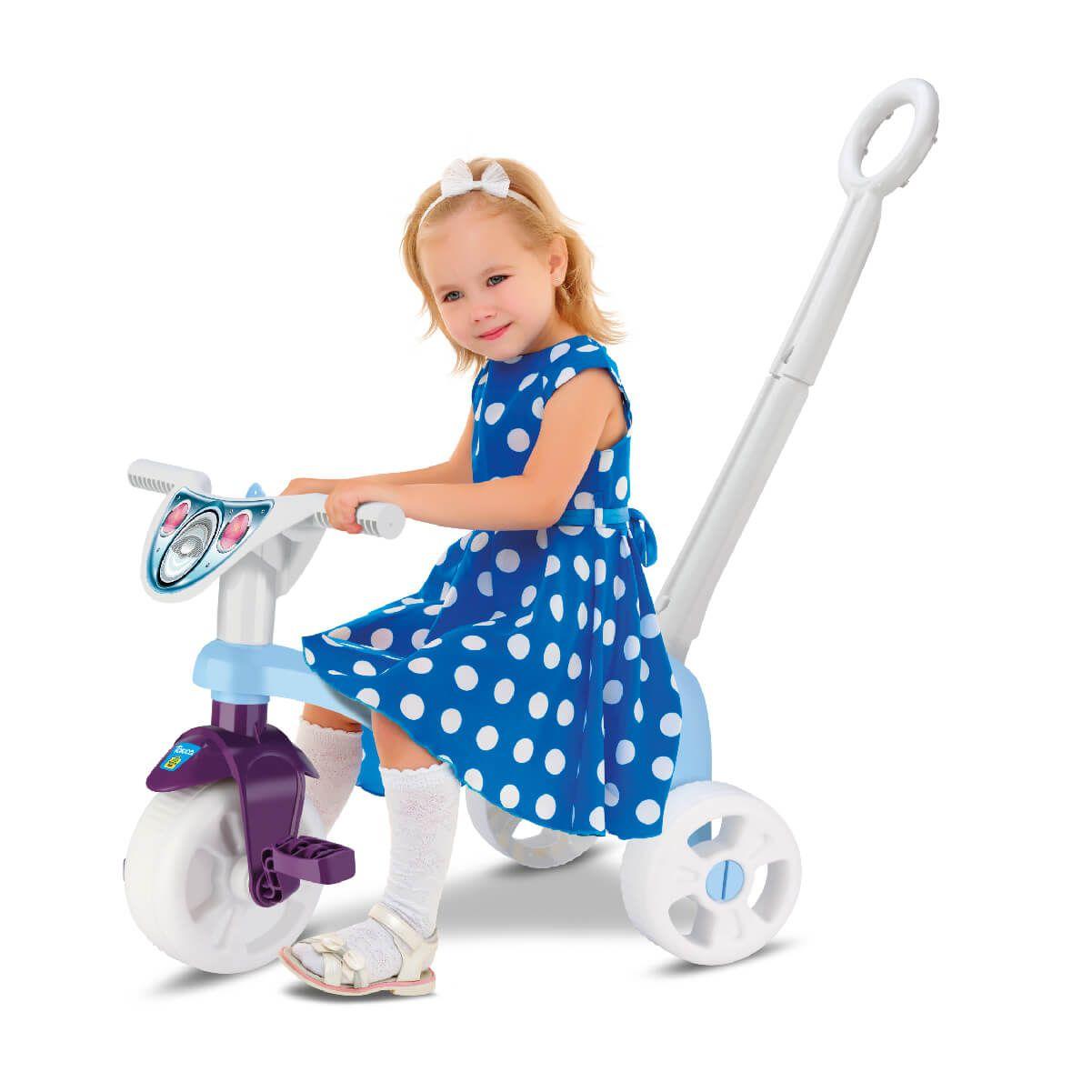 Triciclo Tchuco Princess Snow Com Haste 0615 Samba Toys