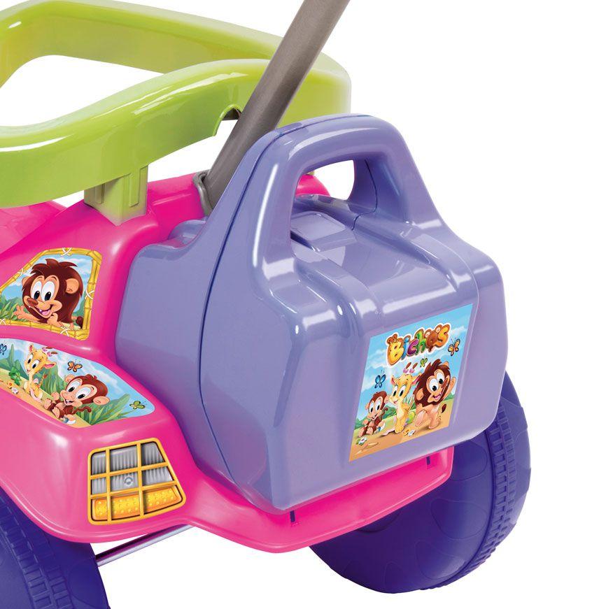 Triciclo Tico Tico Bichos Rosa Com Som e Luzes 3513 Magic Toys