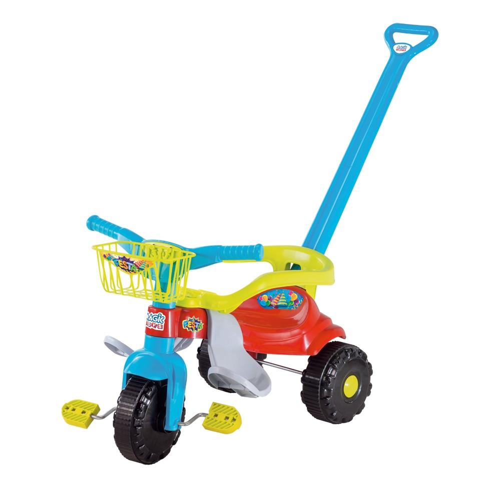 Triciclo Tico Tico Festa Com Aro Protetor Azul  2560L Magic Toys