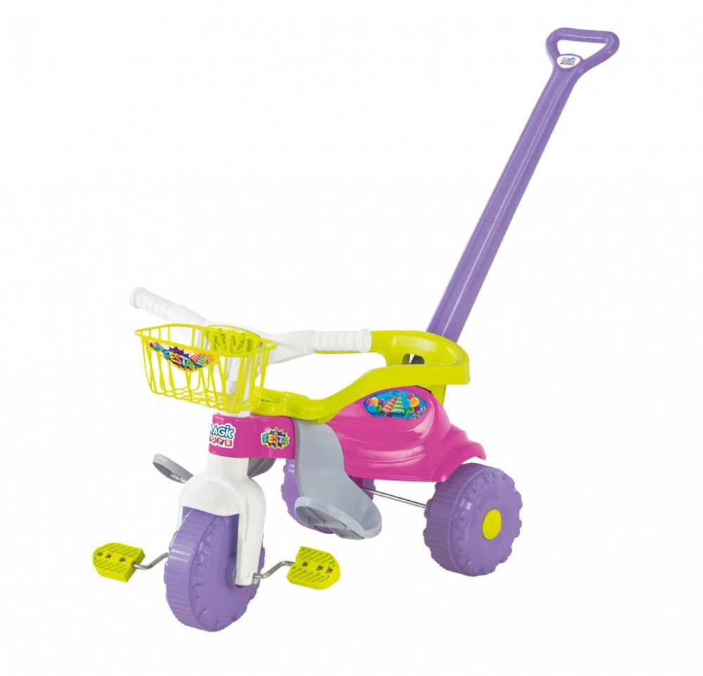 Triciclo Tico Tico Festa Com Aro Protetor Rosa 2561L Magic Toys