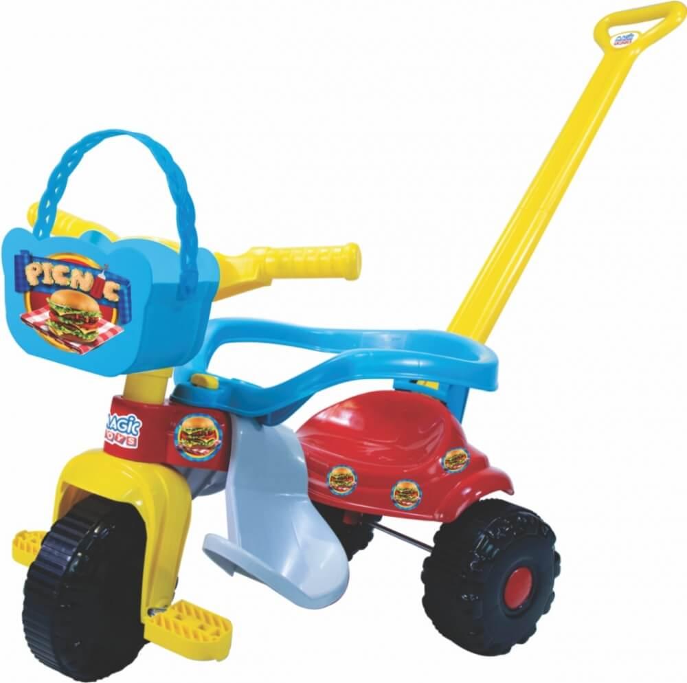 Triciclo Tico Tico Pic Nic Com Aro Azul 2565 Magic Toys