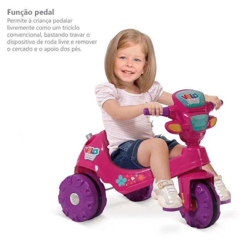 Triciclo Velobaby Passeio E Pedal Rosa 207 Bandeirante