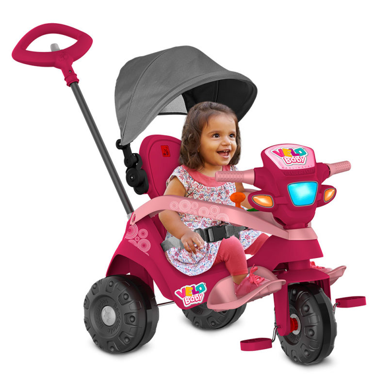 Triciclo Velobaby Reclinável Com Capota Passeio e Pedal Pink 339 Bandeirante