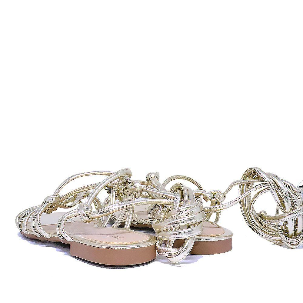Rasteira amarração de tiras metalizada ouro