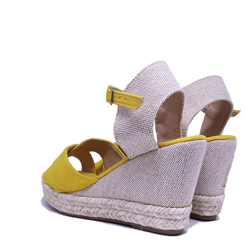 Sandália anabela espadrille trançada amarela