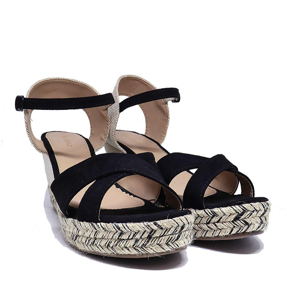 Sandália anabela espadrille trançada preto