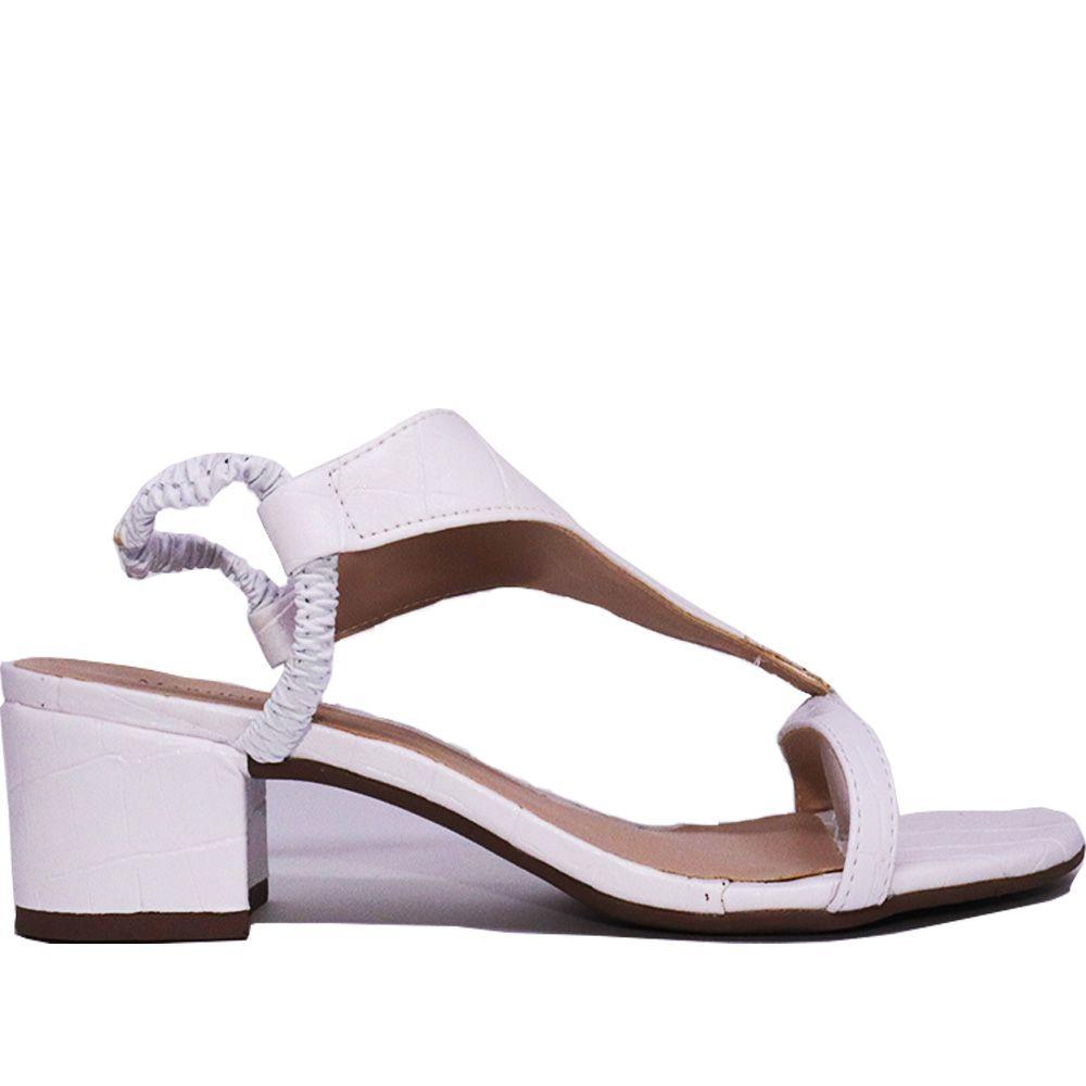 Sandália de dedo salto médio bloco croco branco.
