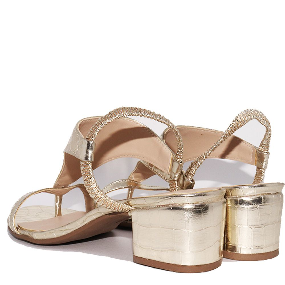 Sandália de dedo salto médio bloco croco ouro light.