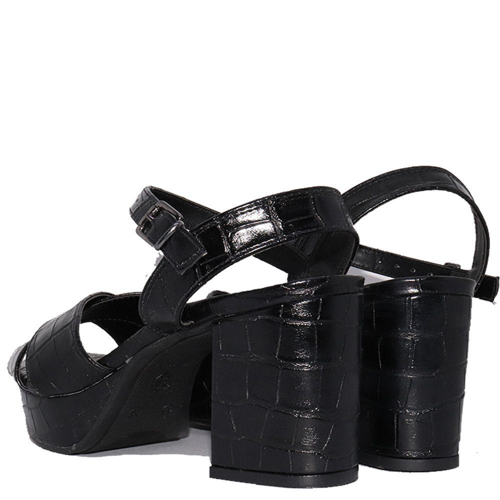 Sandália meia pata salto bloco croco preto