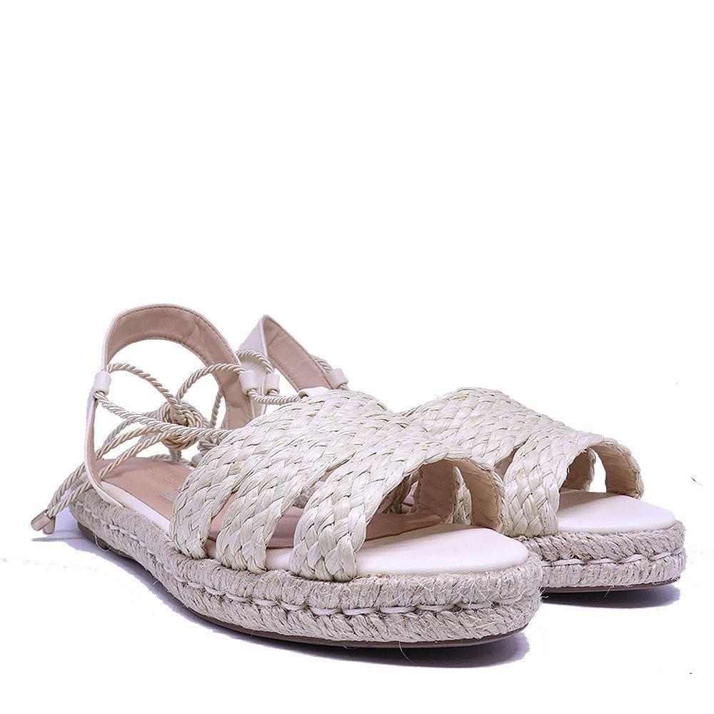 Sandália rasteira espadrille rafia natural