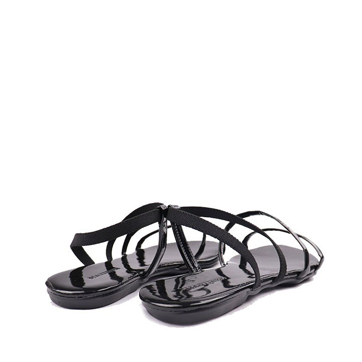 Sandália rasteira verniz elástico