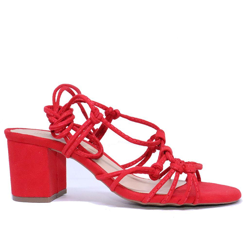 Sandália salto bloco de amarração suede ruby