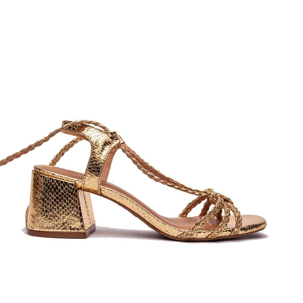 Sandália salto bloco em tiras de amarração ouro