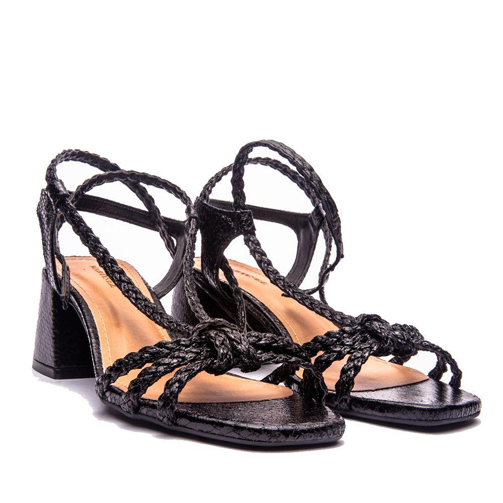 Sandália salto bloco em tiras de amarração preto