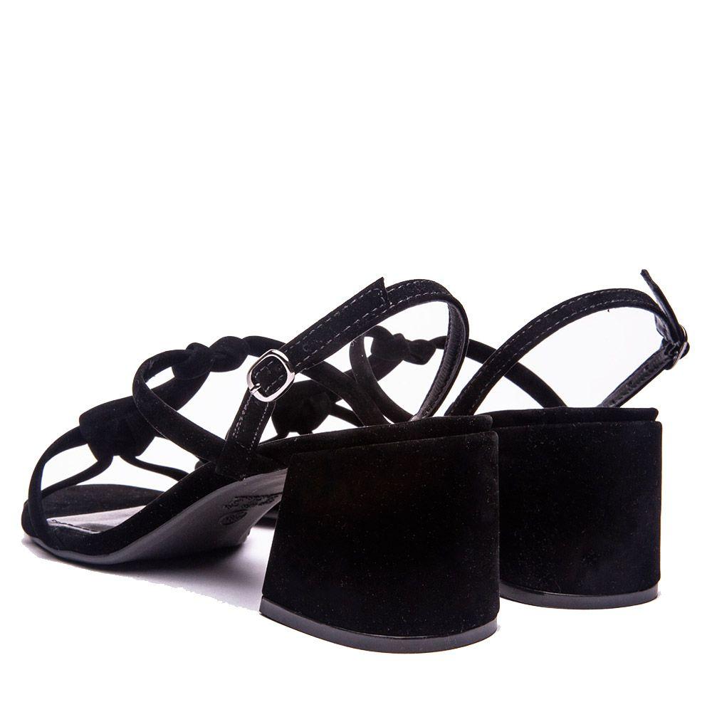 Sandália salto bloco em tiras em sued preto